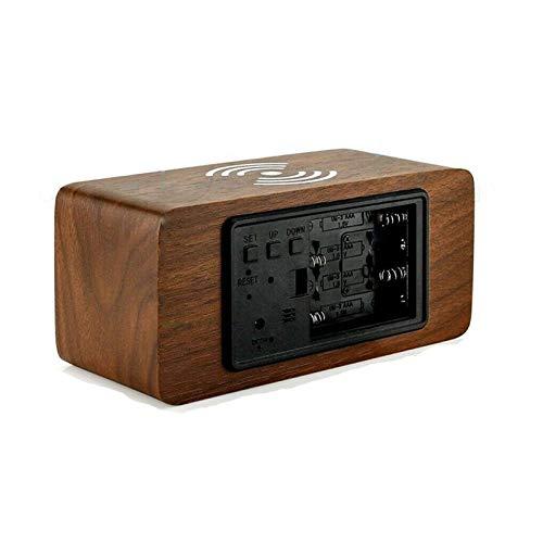 Rabbfay Multifunción Inalámbrico Cargador con Alarma Reloj y La Temperatura Monitor, 4 en 1 Cargando Estación Muelle Compatible por iWatch y iPhone 11 / XS/XR/X / 8,Dark Wood Color