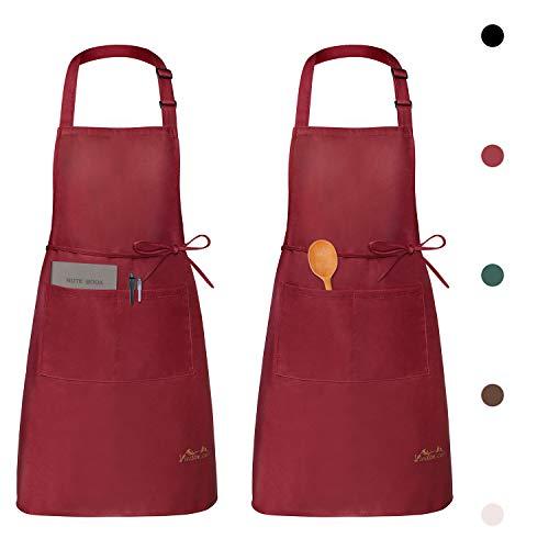 Viedouce 2 Pack Tabliers de Cuisine Etanche,Tablier Réglable avec Poches pour Cuisine...