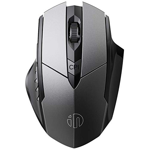 Bluetooth Mouse, Inphic Rechargeable Wireless Mouse Multi-Device (Tri-Mode:BT 5.0/4.0+2.4Ghz) with Silent , 3 DPI Adjustment, Ergonomic Optical Portable Mouse for Laptop Android Windows Mac OS, Grey