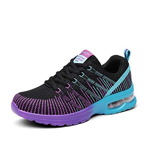 Zapatillas de Running para Mujer Zapatos para Correr y Asfalto Aire Libre y Deportes Calzado Ligero Transpirable (Black,38)