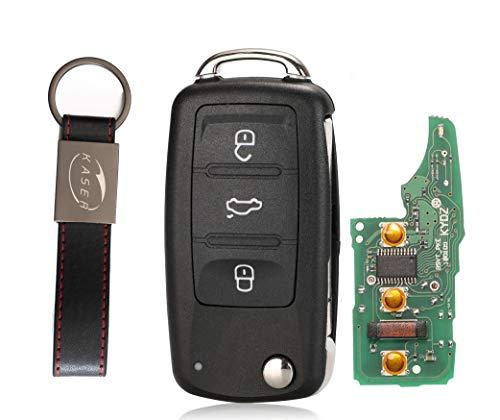 kaser Llave Mando Coche para Volkswagen con Tarjeta Electrónica 3 Botones para VW Skoda Seat Golf Passat Tiguan Polo (433Mhz ID48 Chip) 5K0837202A Transponder con Llavero KASER