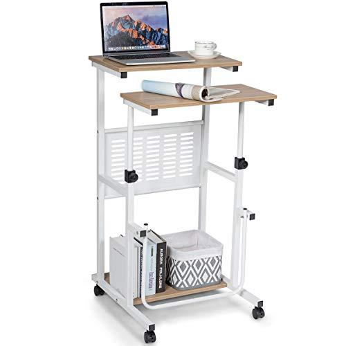 COSTWAY 2-in-1 Laptoptisch & Schreibtisch, Bürotisch auf Rollen, Projektionstisch Stehtisch höhenverstellbar, Computertisch PC-Arbeitsstation mit Fußstütze für Zuhause & Büro