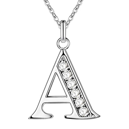 PARTNER Sterling Silver Plated Simple 26 Letters Alphabet Personalized Charm Pendant Necklace Best for Gift (A)