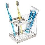 mDesign Soporte para cepillos de dientes independiente – Portacepillos con espacio para 4 cepillos dentales y dentífrico – Organizador de productos de higiene dental – transparente/plateado