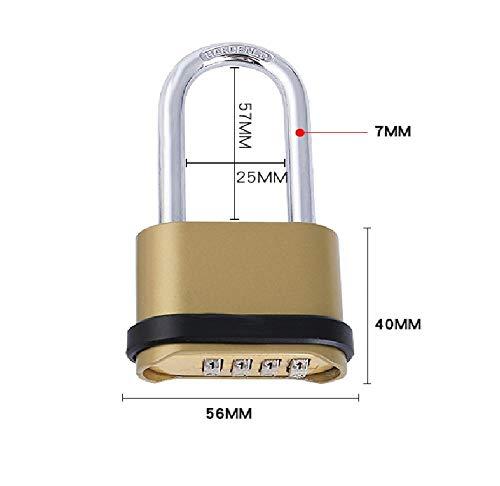 Gangkun Mini-wachtwoordenvergrendeling, groot hangslot voor kasten, bagagekoffer, fitnessruimte in de slaapzaal, kinderbagage, diefstalbeveiliging Long Beam
