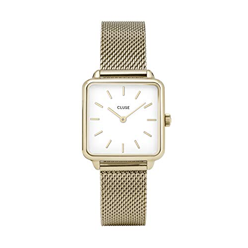 CLUSE LA TÉTRAGONE Gold Mesh White CL60002 Women's Watch 29mm Square Dial Stainless Steel Strap Minimalistic Design Casual Dress Japanese Quartz Precision