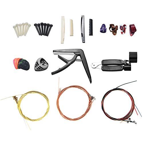 Viudecce Kit de Accesorios para Guitarra de 34 Piezas Incluyendo PúAs de Guitarra, Enrollador de 3 en 1 Cuerda, SillíN de Puente de Hueso de 6 Cuerdas y Nuez Selecciones de Dedo