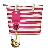 XOYZUU Bolsa de vino de playa – Bolso de moda con bolsa oculta y de moda con compartimento aislado oculto, capacidad para 2 botellas de vino