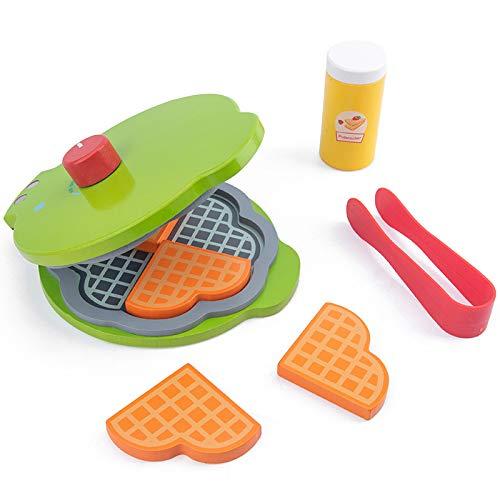 PPuujia Juego de juegos de cocina de madera, juguetes educativos para niños y niños, juego de ensalada, tostadora y gofres para niñas (color : waffle)