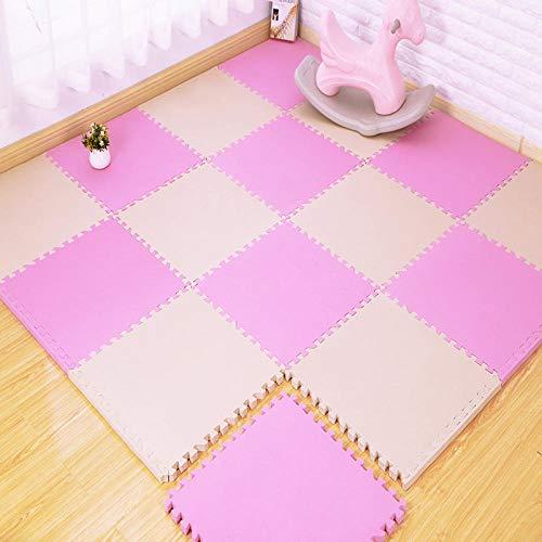 zeenca baby soft quiet carpet, rompecabezas de piso de goma espuma EVA, almohadilla protectora engrosada para piso de goma EVA suave Rosa 30 * 30 * 0,8 cm 【12 Stück】