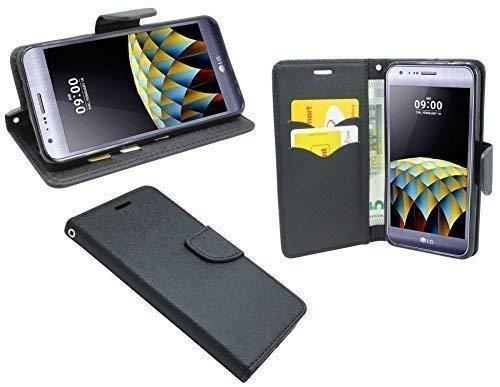 ENERGMiX Elegante Buch-Tasche kompatibel mit LG X-CAM in Schwarz Leder Optik Wallet Book-Style