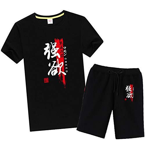Boyyu The Seven Deadly Sins Anime Shorts Kurze Hose Hosen Jogging Herren Kurz Sport Sommer Sport Baumwolle Pants Short Men Mit Taschen Kurzarm T-Shirt Set M