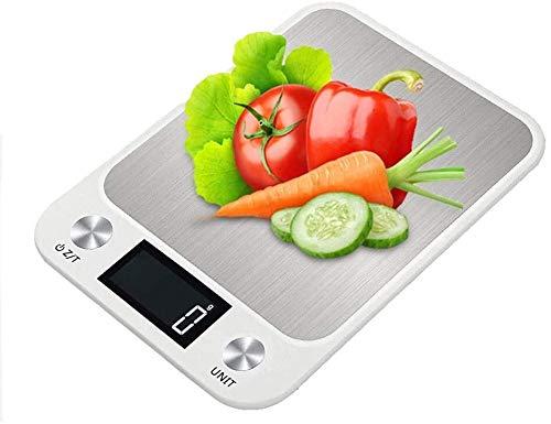Hancoc Escala de Cocina Digital 5kg / 10kg Escala de cocción electrónica con Pantalla LCD Báscula de pesaje de Alta precisión de Acero Inoxidable para Hornear, cocinar -White-5kg (Color : White10kg)