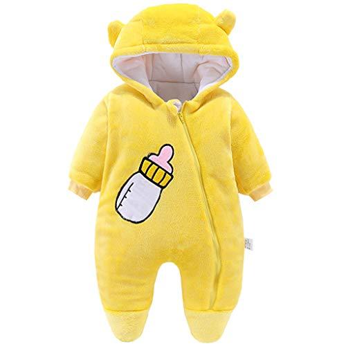 Mono de invierno de manga larga con capucha, de forro polar, para niños y niñas, de 0 a 12 meses Amarillo amarillo 9 mes