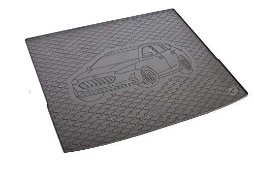 Passgenau Kofferraumwanne geeignet für Ford Focus MK4 Kombi ab 2018 ideal angepasst schwarz Kofferraummatte + Gurtschoner