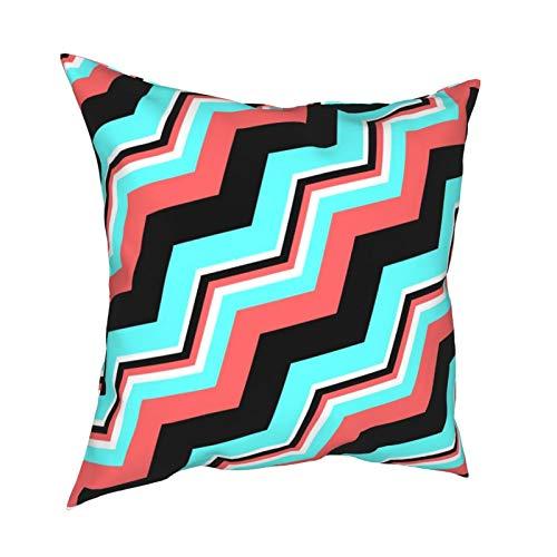 Funda de cojín para sofá, decoración del hogar, diseño de cheurón, color negro, blanco, coral y verde azulado, 45,7 x 45,7 cm