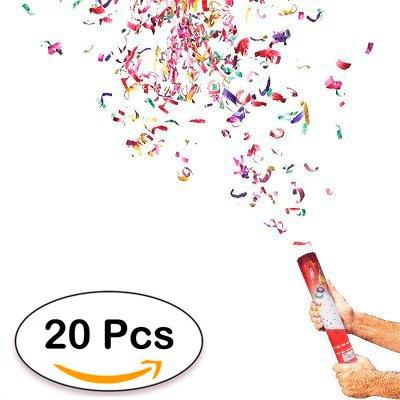 DISOK Lote de 20 Cañones Confeti 40 Cm Ideal para Fiestas, Bodas y Celebraciones