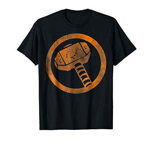 Marvel Thor Hammer Logo Orange Tonal Cut-Out T-Shirt