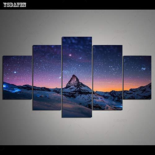 HTBYTXZ 5 Piezas de Lienzo Arte de la Pared Cielo Estrellado Pintura Lienzo Sala de Estar módulo de Pared Pintura Arte Mural 253 40x60 40x80 40x100cm sin Marco