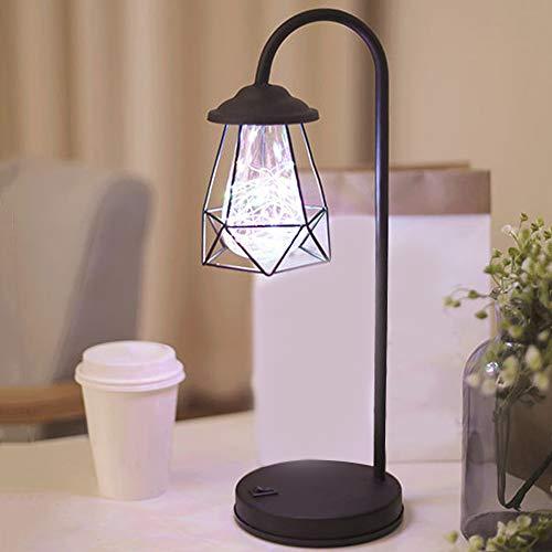 Wankd Retro Lámpara de Mesa Minimalista Industrial Hierro Forjado Lámpara de Escritorio Rústico Mate Negro Titular de Luz para la Sala de estar En Casa Decoración