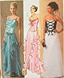 McCall's 4709 Misses Corset Strapless Laced Bustier Basque Ruffled Evening Gown Dress Skirt Prom Bridal Pattern Size 10-12-14-16