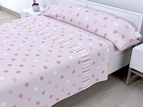 Cabetex Home - Juego de sábanas termicas de pirineo - 3 Piezas - 120 Gr/m2 - Mod. MELL (Rosa, 150_X_190/200 cm)