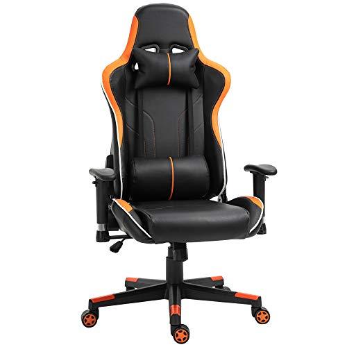 Vinsetto Poltrona Gaming con Altezza Schienale Regolabile, Sedia Ufficio con Poggiatesta e Cuscino Lombare Nera e Arancione