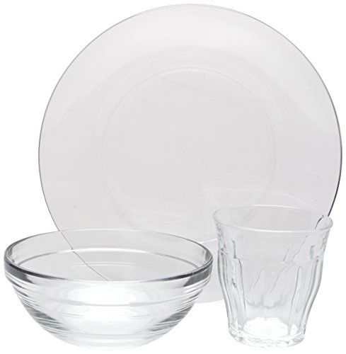 Duralex Glas Made In France Kids 12-pc Set Includes (4) 4-5/8 oz. Picardie Glasses,(4) 7-1/2 inch Plates & (4) 4-3/4 inch Lys Bowls, 4.5, Clear