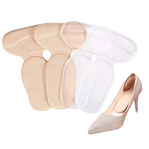 Doact 2 Pares T-forma Plantillas Silicona /Gel Almohadillas de Talón/Talonera para Protectores de Talón para Zapatos de Tacón Alto y Zapatos Planos, Evitar Ampollas y Pie Dolor