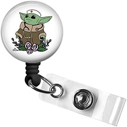Cute Nurse Badge Reel Retractable Name Card Badge Holder with Alligator Clip Medical MD RN Nurse product image