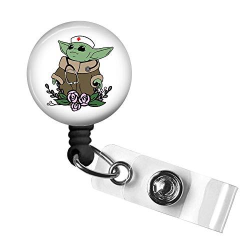 Cute Nurse Badge Reel,Retractable Name Card Badge Holder with Alligator Clip, Medical MD RN Nurse Badge ID, Badge Holder, Office Employee Name Badge