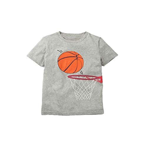 Sommer 2020 Kinder Shirts Baumwolle Kinder Tops Cartoon T-Shirt für Jungen Mädchen Bluse Schule Kind Oberbekleidung Baby Tees 2-8 Jahre Gr. 36, Grauer Basketball