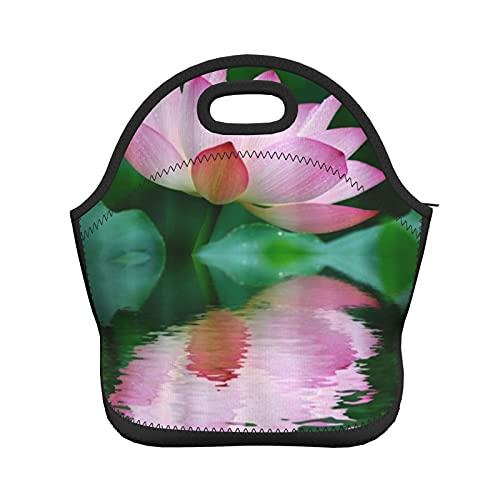 ADONINELP Bolsa de almuerzo con aislamiento para mujeres y hombres, loto rosa, con aislamiento térmico, resistente al agua, bolsa de mano, lonchera, enfriador de alimentos, bolsa de transporte, para