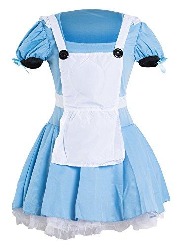 Emmas Wardrobe Disfraz Alicia | Adulto Vestido de Azul, Blanco Delantal y Negro Diadema | Tamaño 34-42 (XXL,42)
