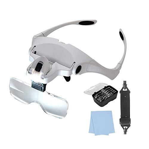Gafas LED con lupa. 5 dioptrías intercambiables