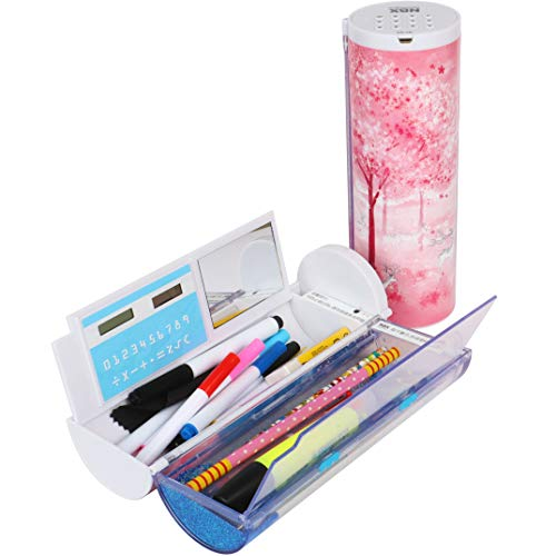 Multi-function Pencil Case with digital password lock, Beautiful Quicksand Translucent design, Creative cylindrical school box with calculator and large storing space for students (Pink Sakura)
