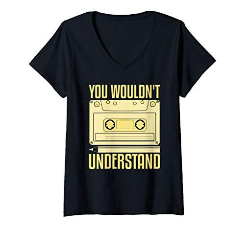 Damen Bleistift und Kassette Retro 90er Jahre T-Shirt mit V-Ausschnitt