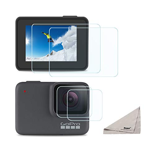 [4pcs] Deyard Screen Protector for GoPro Hero 7 White GoPro Hero 7 Silver, Ultra Clear Tempered Glass Screen Protector + Lens Protector Accessories