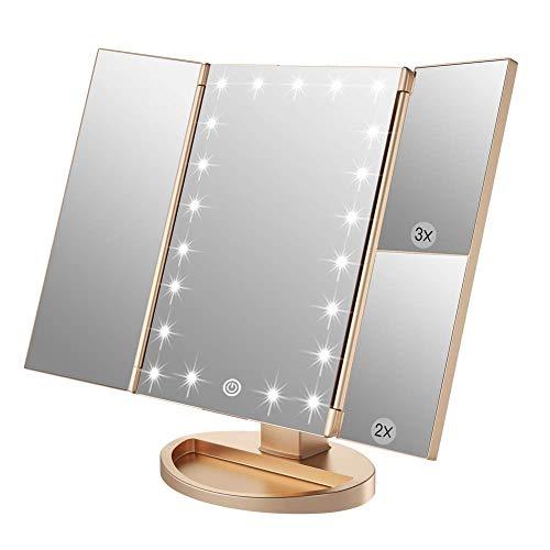WEILY Espejo de Maquillaje, 21 LED y Aumento 2X  3X, Interruptor táctil para Ajustar el Brillo, Modo de Fuente de alimentación Dual Espejo cosmético de Mesa (Oro)