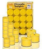 Hyoola Tealight Citronella Candles Outdoor - 8 Hour Burn Time - Indoor and Outdoor Mosquito, Insect and Bug Repellent Citronella Candle - Natural Fresh Scent – Decorative in Clear Cup - 40 Pack