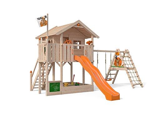 ISIDOR Wonder WOW parte Torre con ampliado Balancín Cultivo, XXL tobogán, caja de arena, balcón, escaleras en 1,50m Altura de Porche