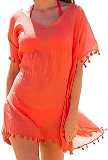 sidefeel Women Gauze Tassel Hem Beachwear Bikini Cover up Large Orange
