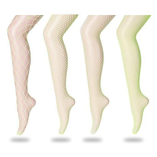 FLORA GUARD High Waist Tights Fishnet Stockings, High Waist Sexy Fishnets Pantyhose (Yellow)