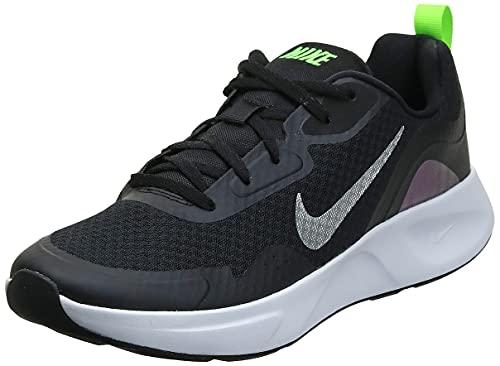 Nike WEARALLDAY, Scarpe da Corsa Uomo, Black/Mtlc Silver-Blackened Blue-Electric Green, 44 EU