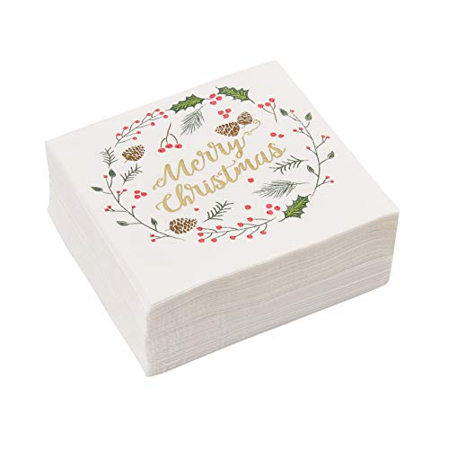 Merry Christmas Party Supplies, Disposable Paper Napkins (5 x 5 In, 50 Pack)