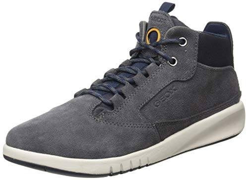 Geox J AERANTER Boy A Chukka Boot, Grey (Dk Grey/Navy), 31 EU