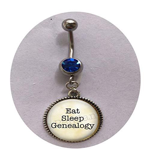 bab Bauchnabelpiercing mit Broschen-Eat Sleep Genealogie Baum Geschichte Familie Historiker Lustiges Genealogie Zitat personalisiertes Geschenk für jeden Tag