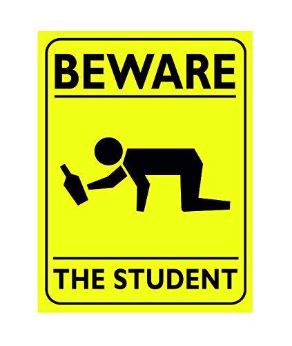 Ecool Beware The Student - Placa Decorativa para Pared, diseño Retro con Texto en inglés Beware The Student
