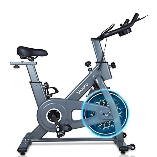 Vanku Bicicleta Estática con Volante de 6 kg, Bici de Magnético Controlado, Bici de Entrenamiento Fitness con Sillín Ajustable, Resistencia Regulable y Pantalla LCD