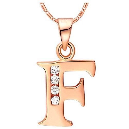 """Onefeart Plaqué Or Rose Pendentif Collier Pour Femme Fille Blanc Cristal Alphabet Anglais """"F"""" 45CMx20X11MM"""